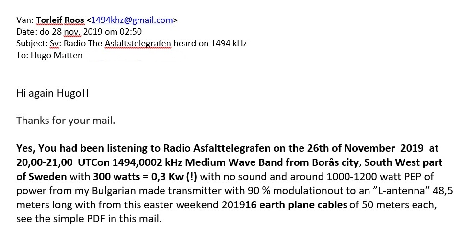 QSL Radio The Asfalt Telegraph b